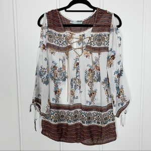 Maurice's Cold Shoulder Boho Lace Up Tunic Top